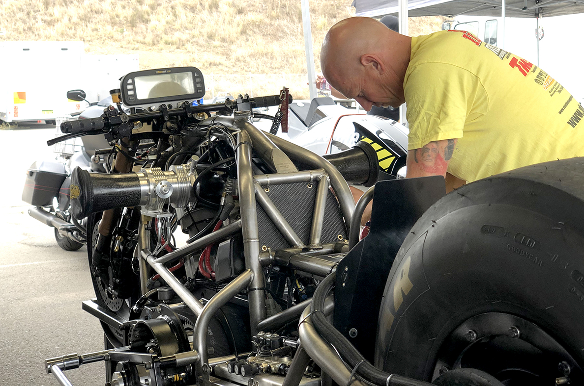 Corey Buttigieg with his Top Fuel Motorcycle